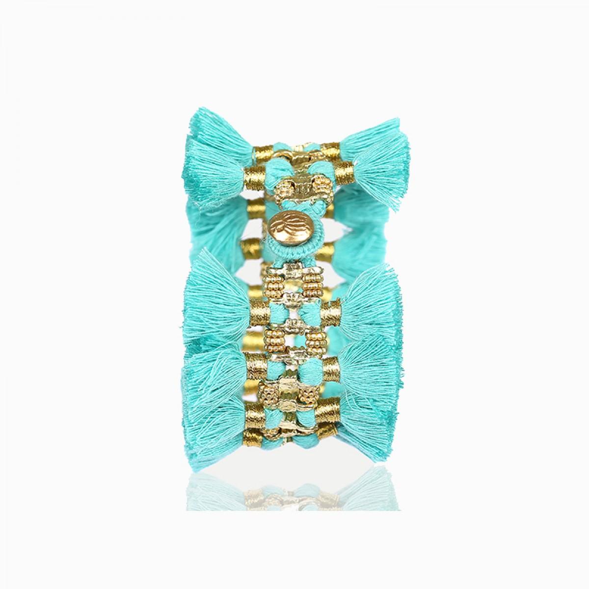 Bohemian Fashion Double Tassel Bracelet - Turquoise