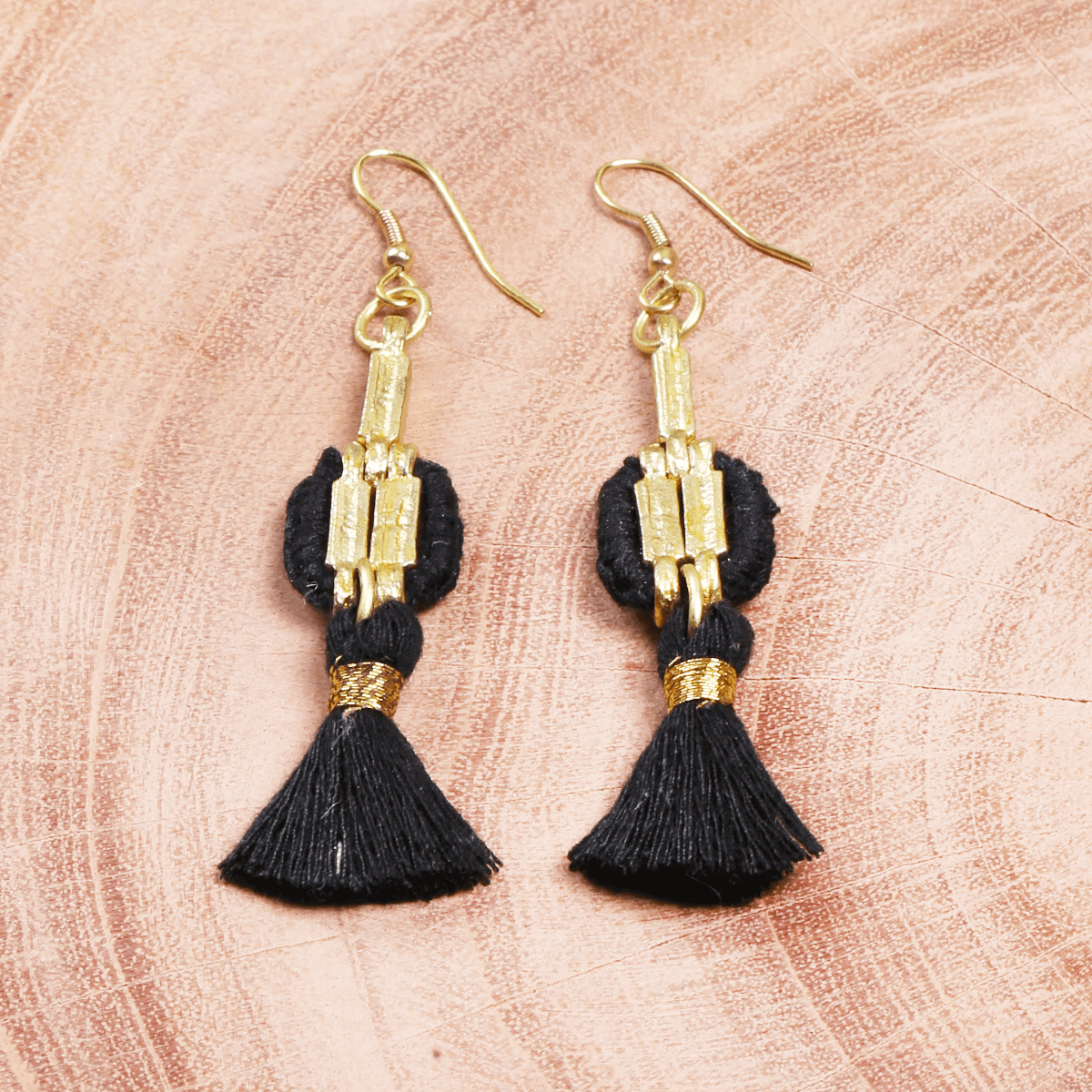 Black tassel metal handmade earring