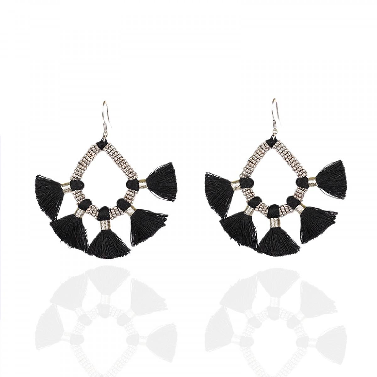 Bohemian Fashion Tassel Earrings - Black