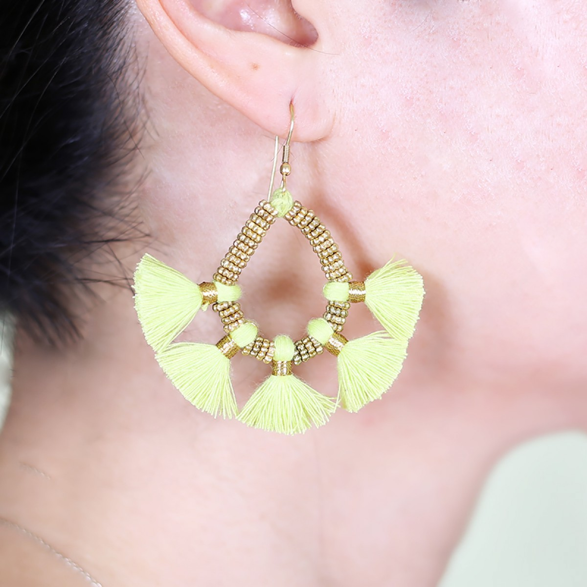 Bohemian Fashion Tassel Earrings - Neon green