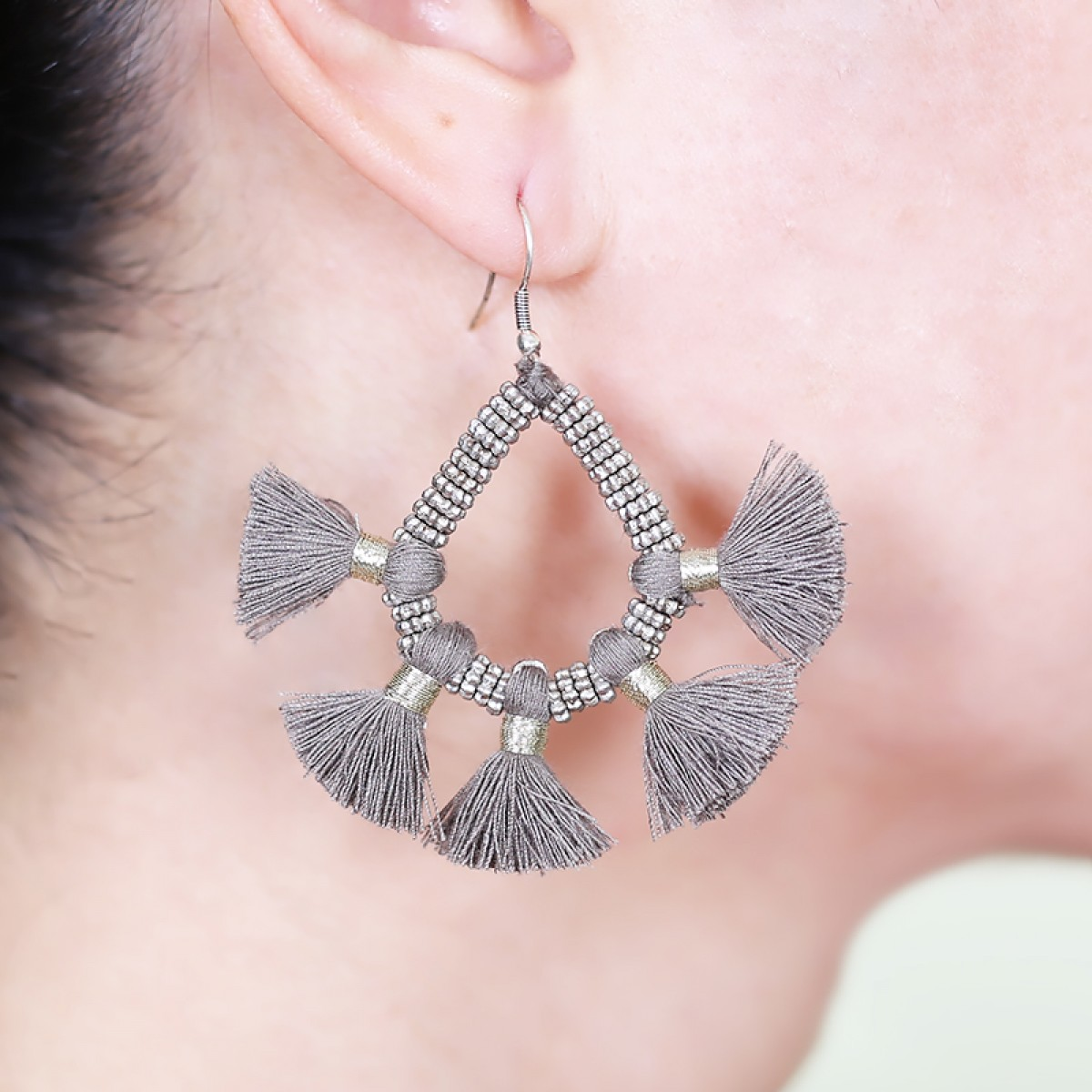 Bohemian Fashion Tassel Earrings - Grey