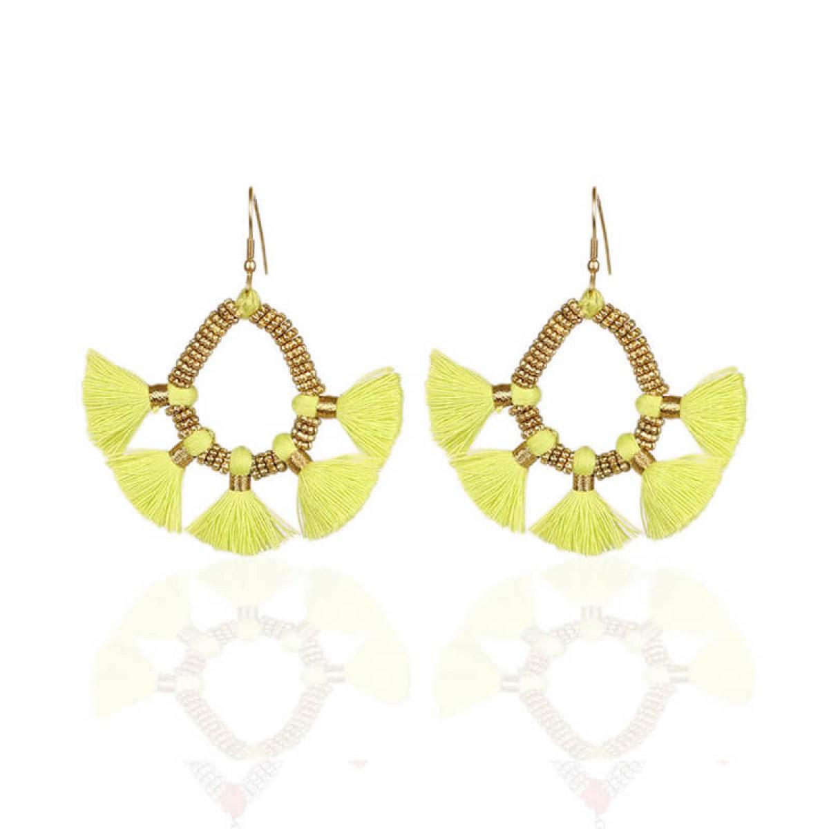 Bohemian Fashion Tassel Earrings - Neon green
