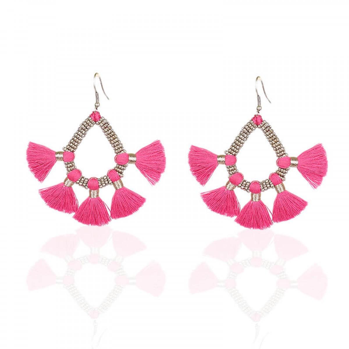 Bohemian Fashion Tassel Earrings - Pink