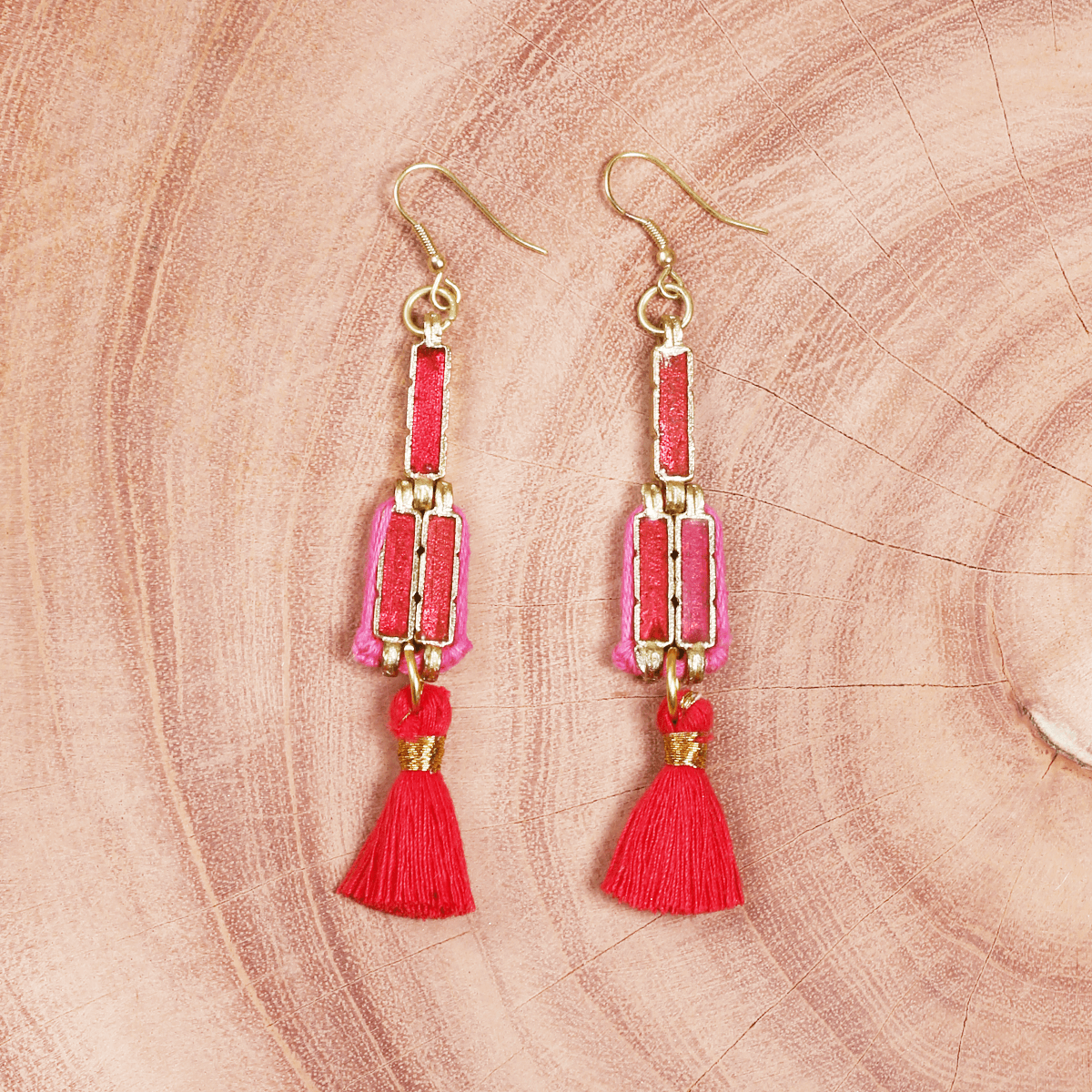 Bohemian Fashion Tassel Metal Earrings  - Red