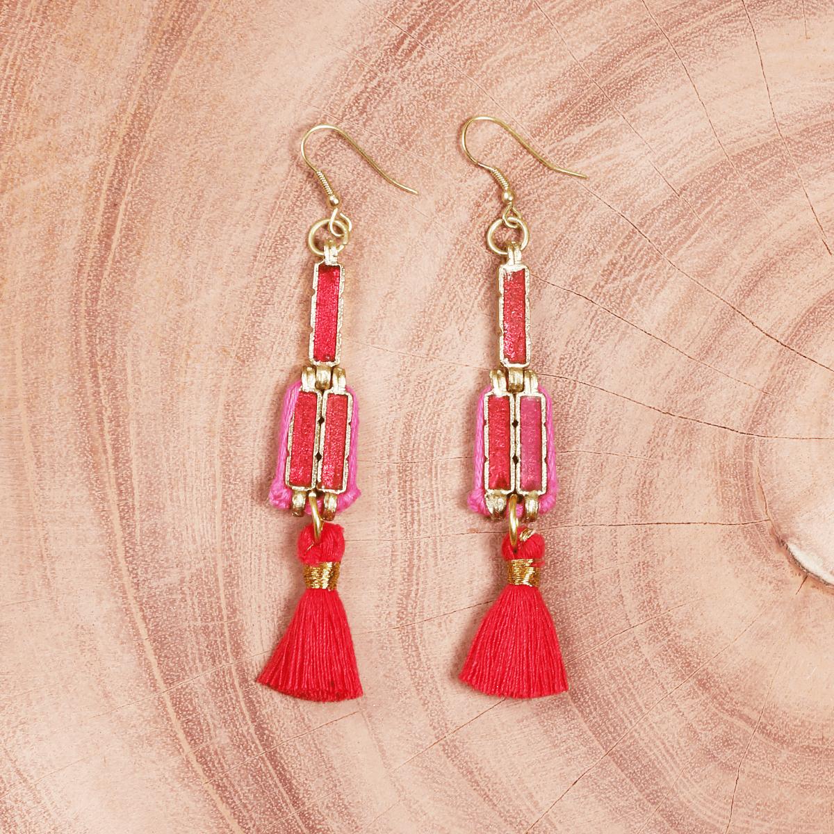 Red tassel and metal handmade earrings