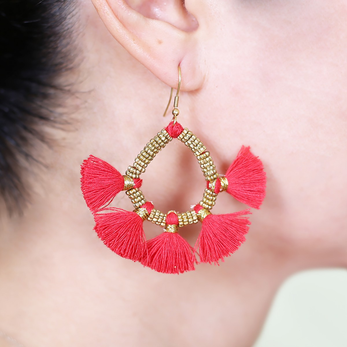 Red tassel metal earrings