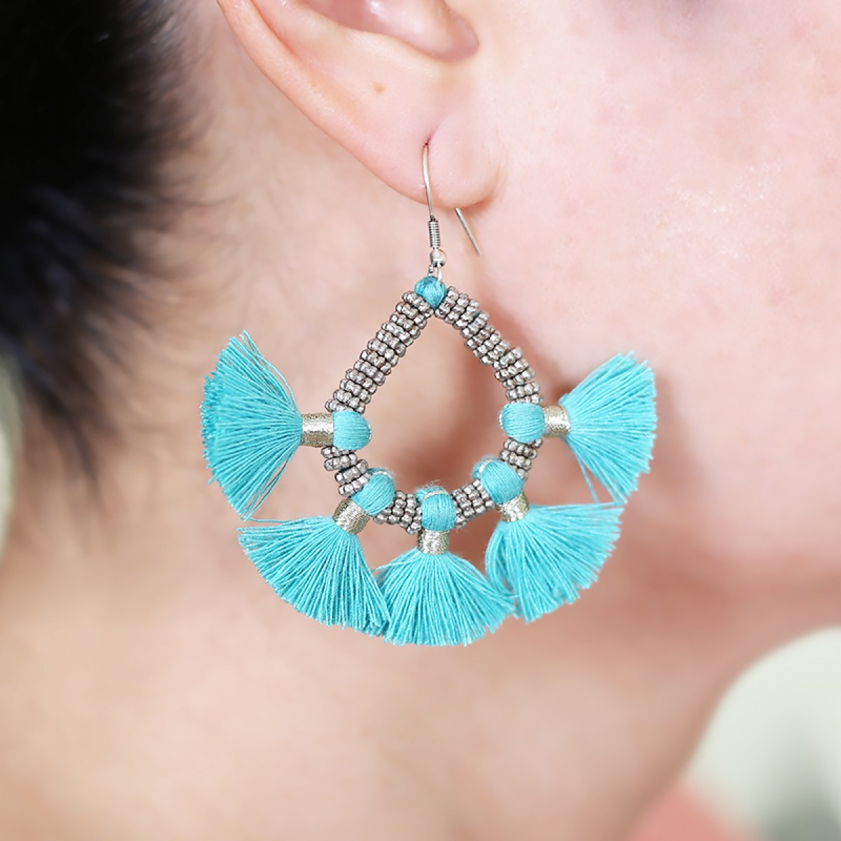 Bohemian Fashion Tassel Earrings - Turquoise