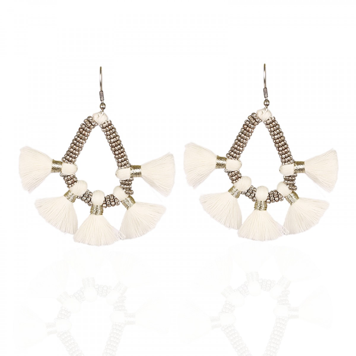 Bohemian Fashion Tassel Earrings - White