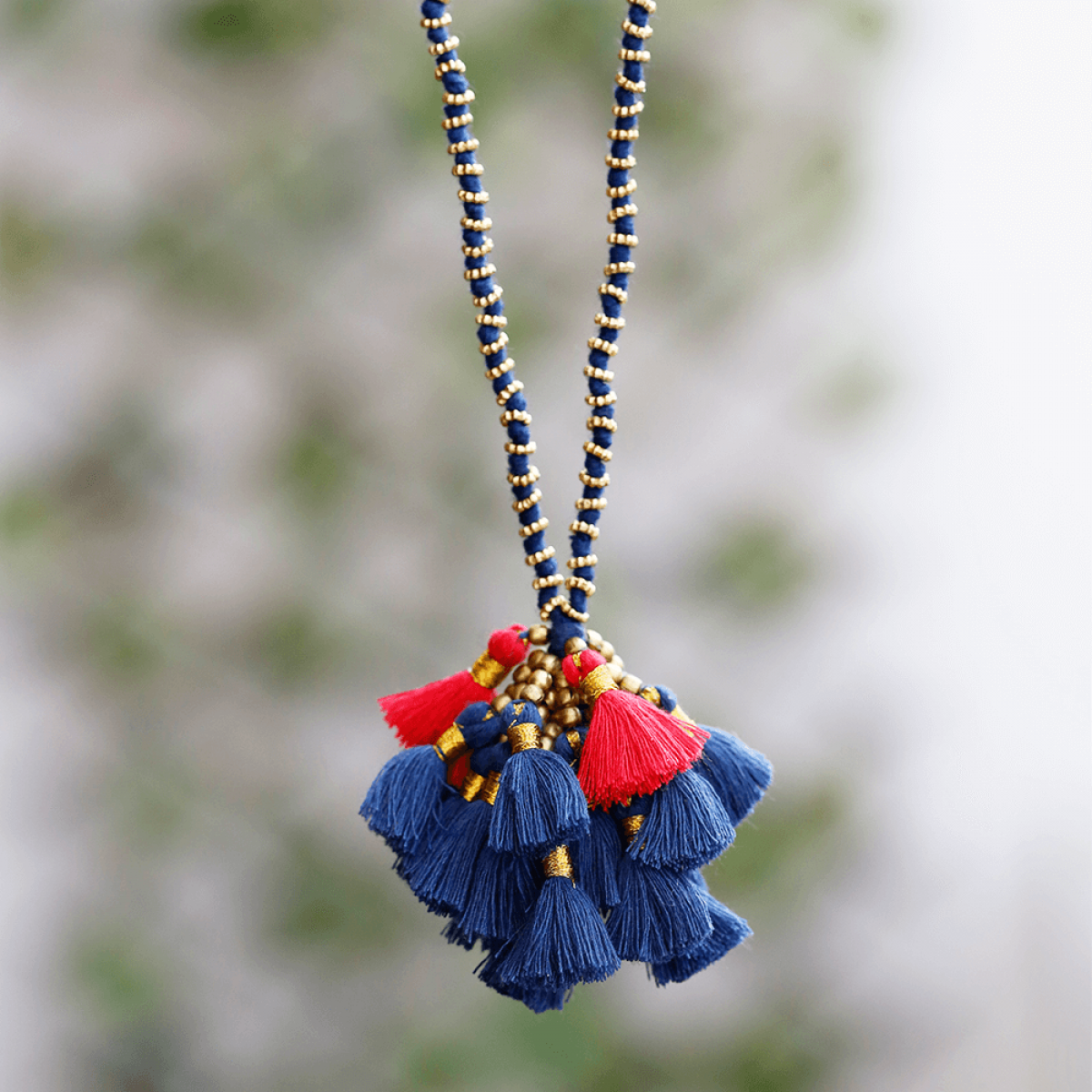 Bohemian Tassel Cluster Necklace - Black & Red