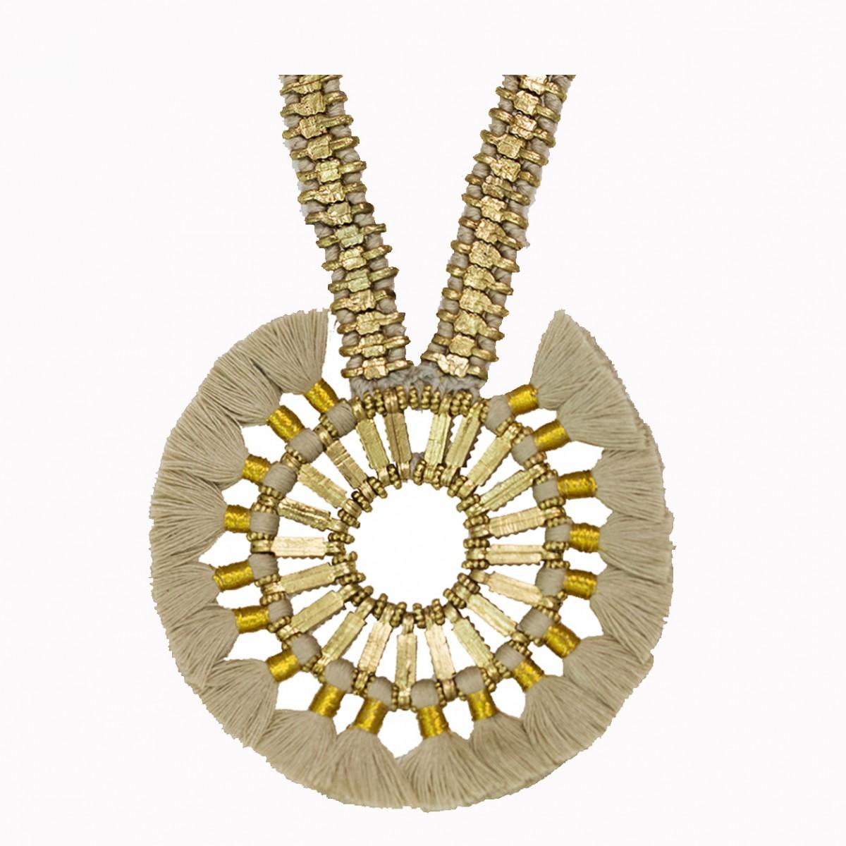 Handcrafted metal beige tassel necklace
