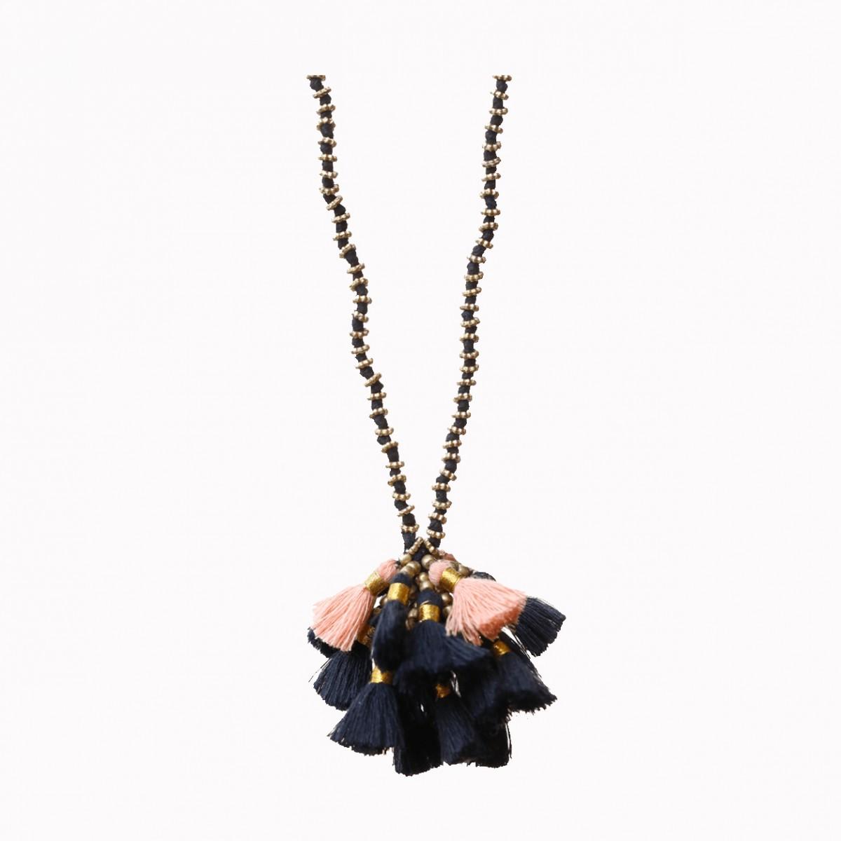 Bohemian Tassel Cluster Necklace - Black & Pink