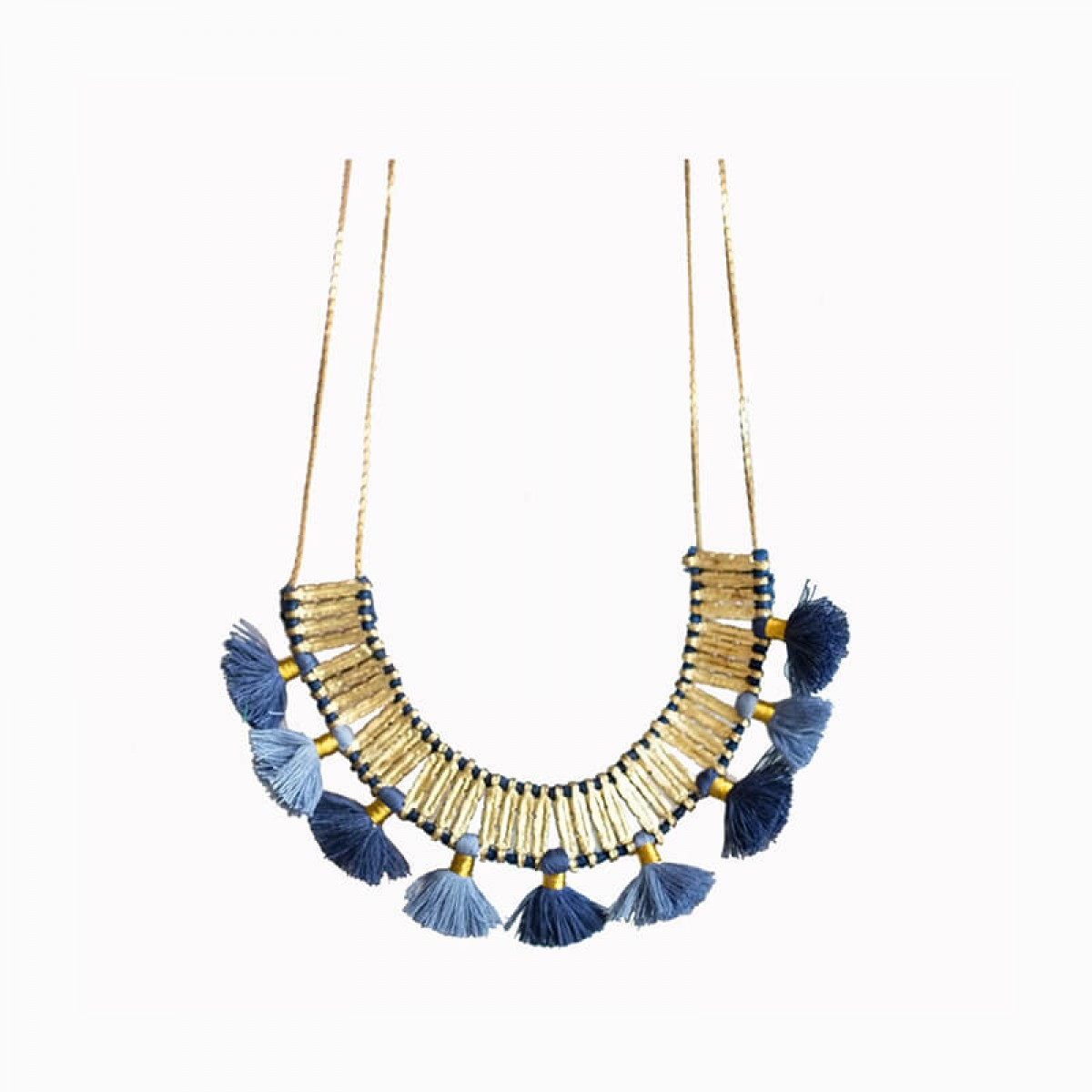 Bohemian Metal Tassel Necklace - Blue