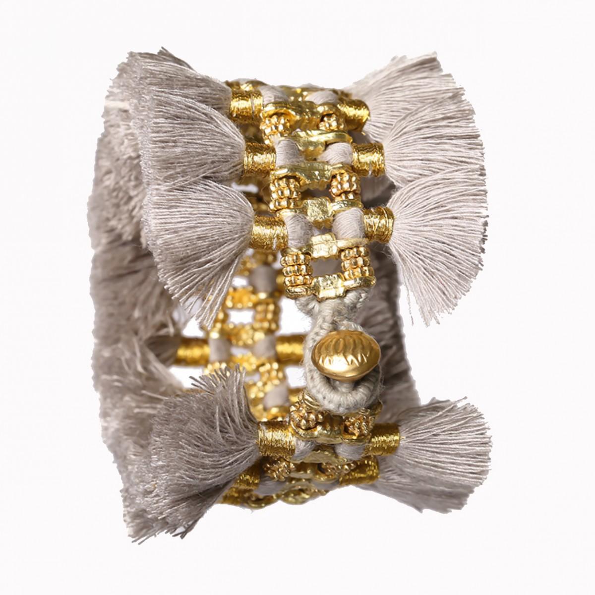Grey double tassel metal bracelet