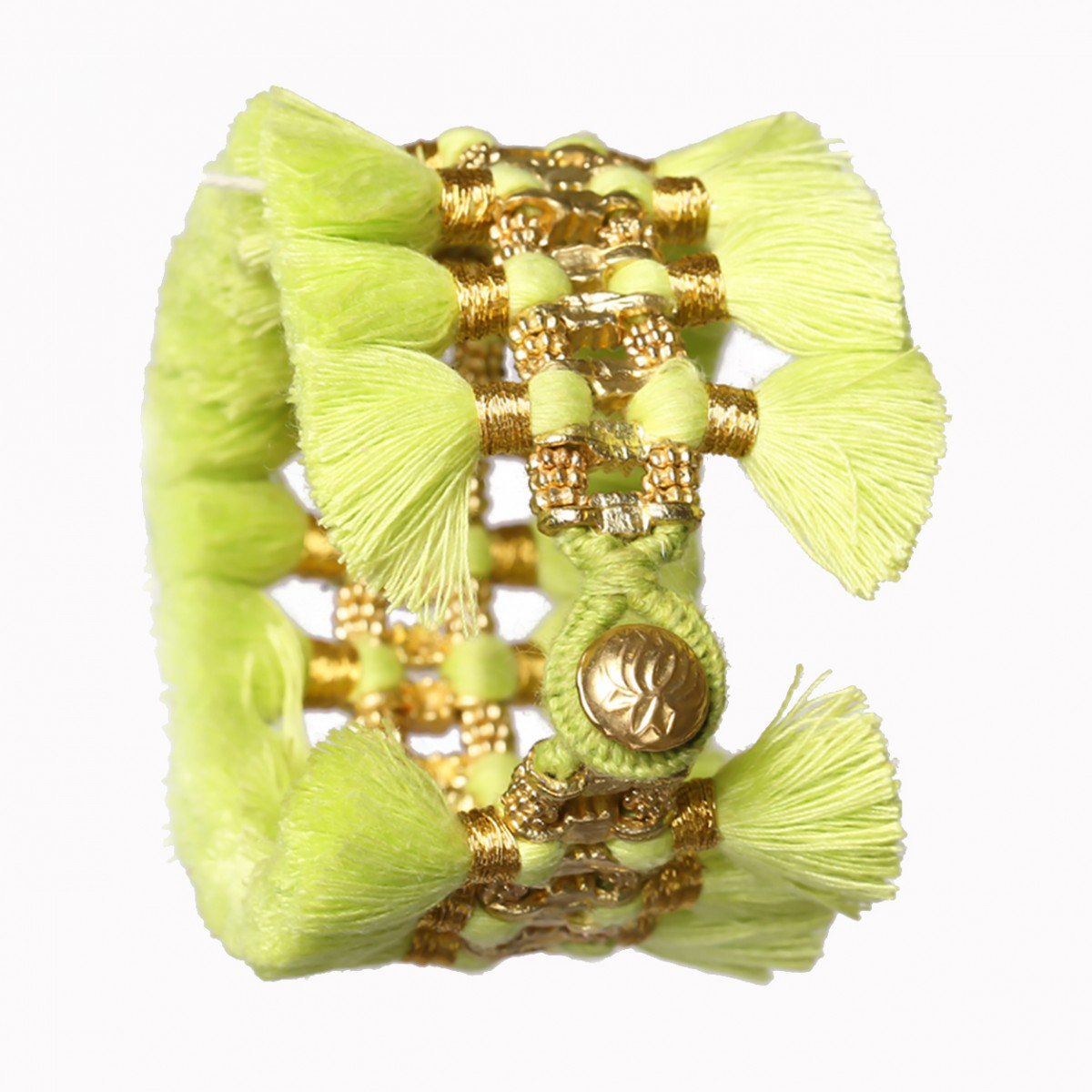 Lime green double tassel bracelet