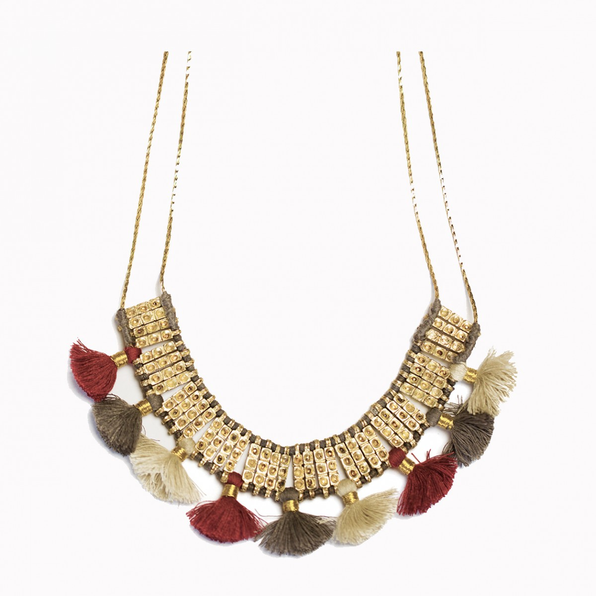 Handcrafted metal black tassel necklace