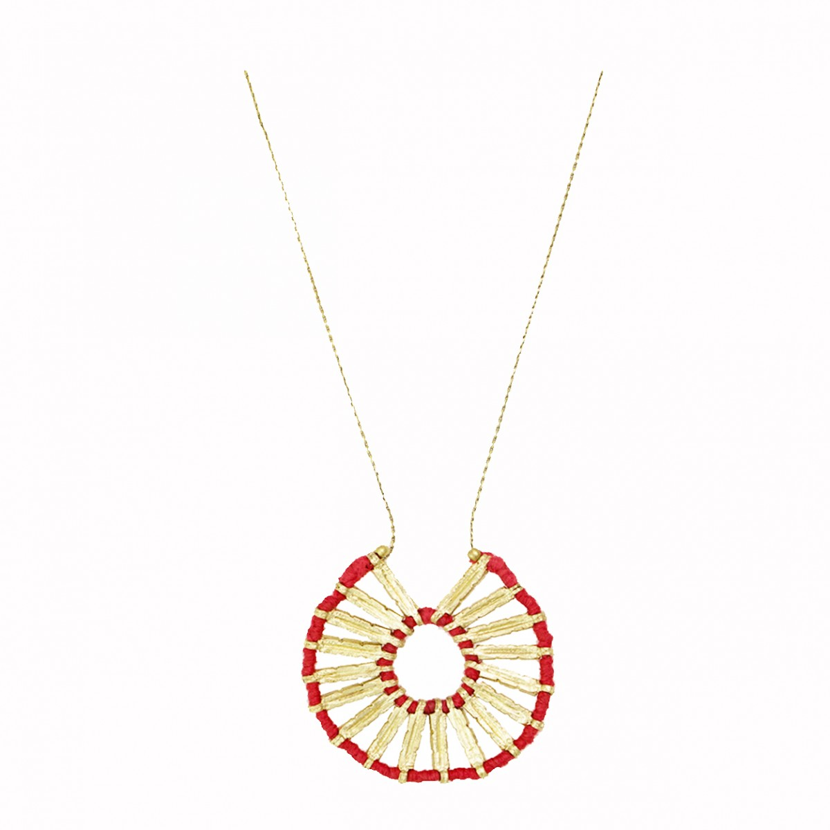 Bohemian Wheel Pendant Necklace - Red