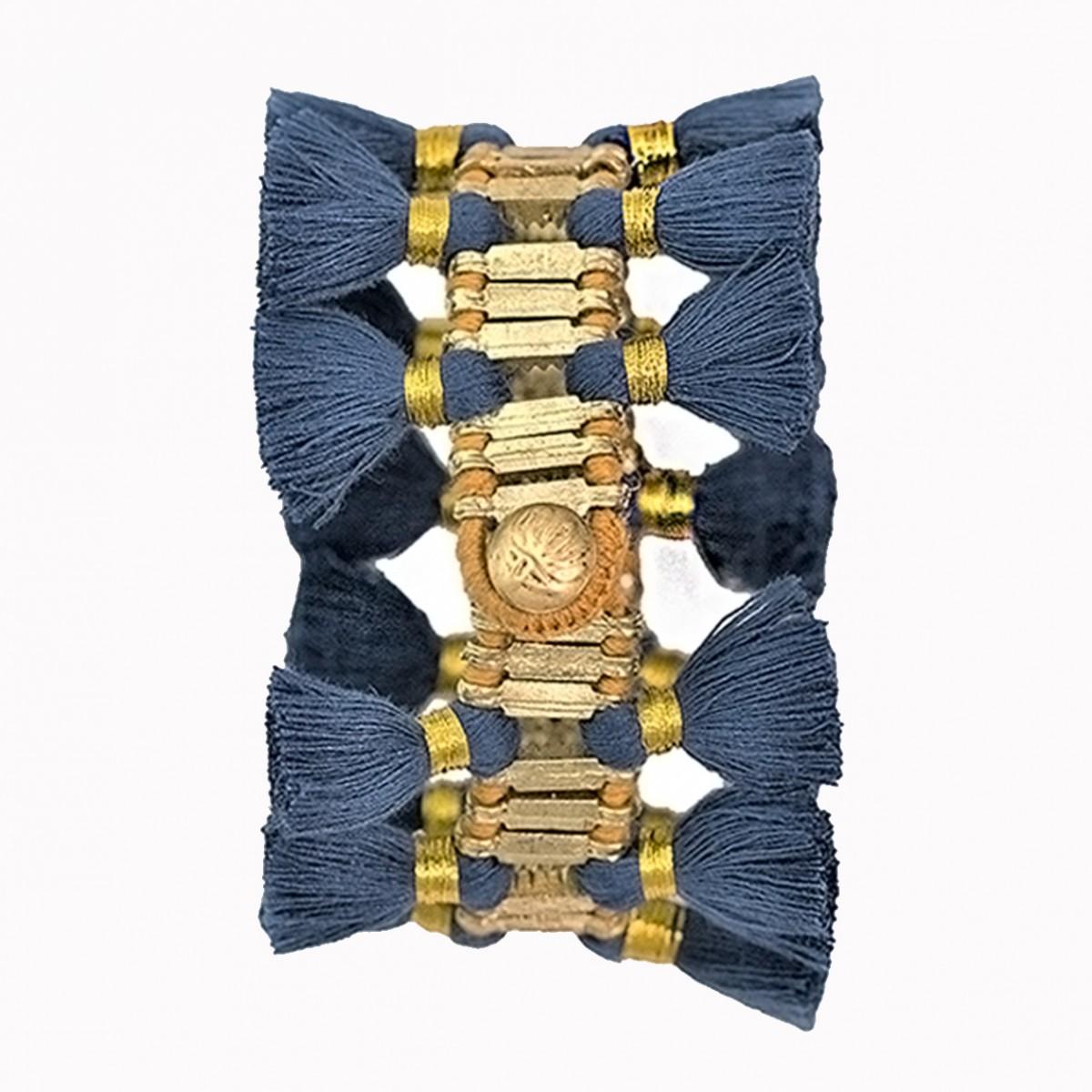 Double tassel blue bracelet