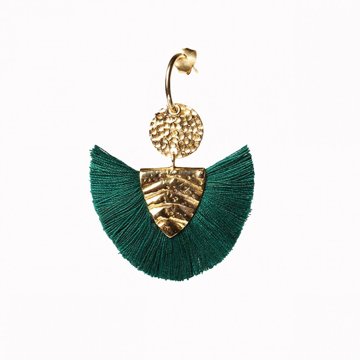 Dark green tassel silver earring