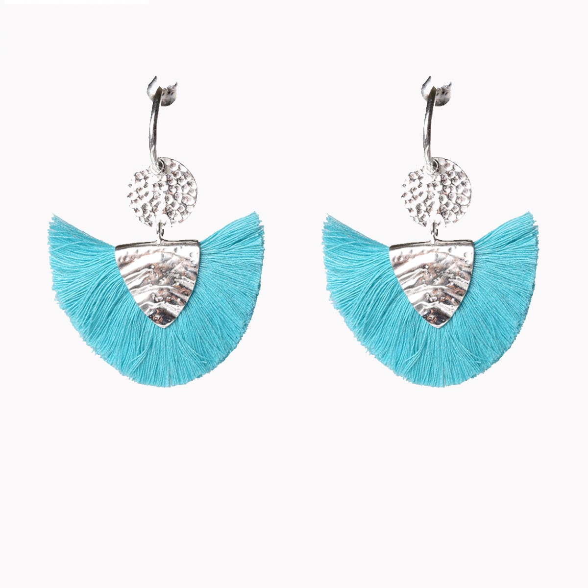 Fashion Tassel Silver Earrings - Turquoise