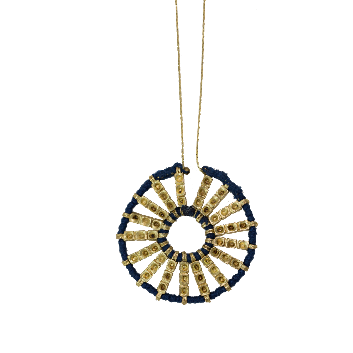 Bohemian Wheel Pendant Necklace - Blue