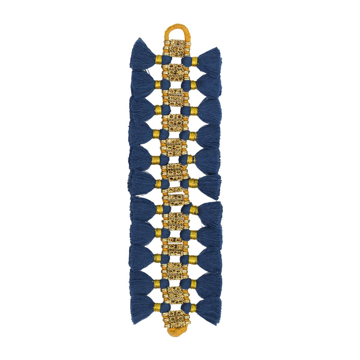 Bohemian Fashion Double Tassel Bracelet - Blue & Gold