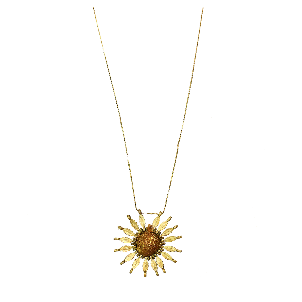 Bohemian Metal Flower Necklace - Gold