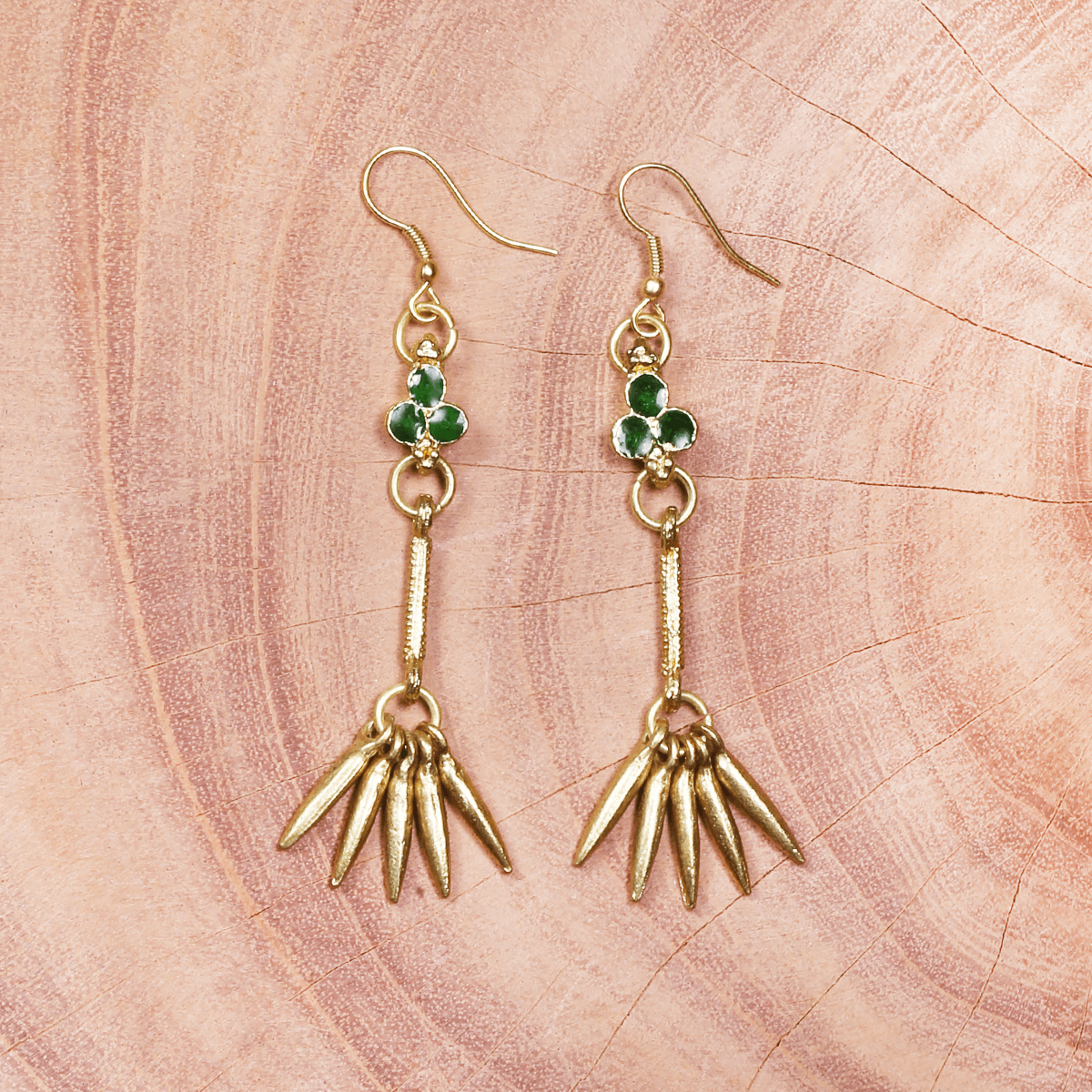 Green and gold metal earring