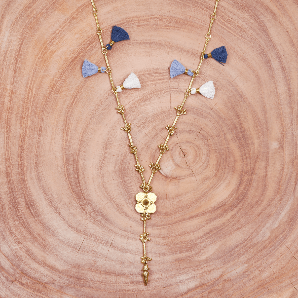 Bohemian Tassel and Metal Necklace - Blue & Gold