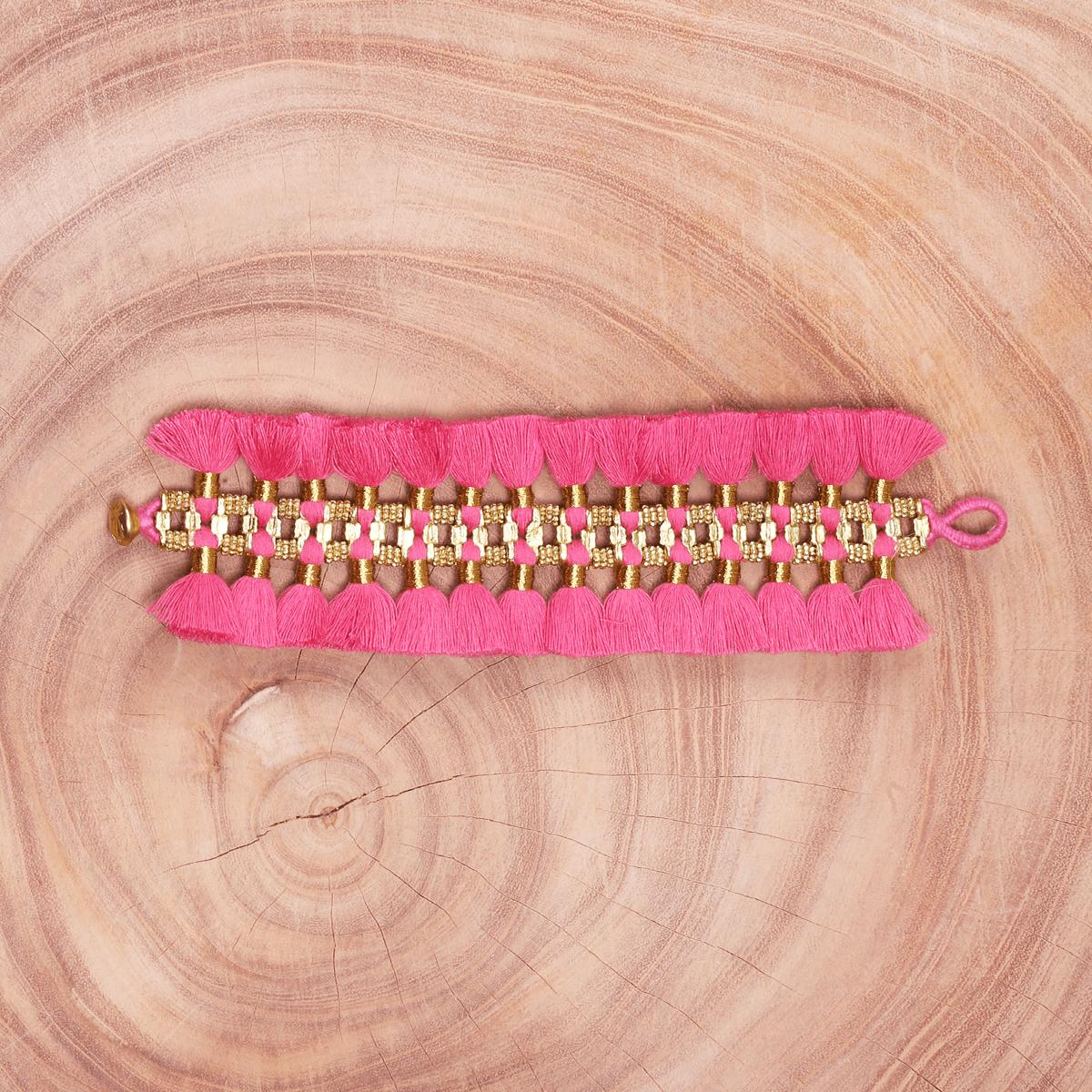 Bohemian Fashion Double Tassel Bracelet - Pink