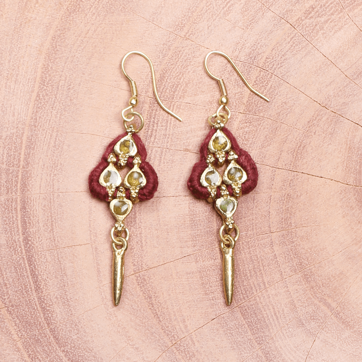 Bohemian Fashion Metal Earrings - Maroon