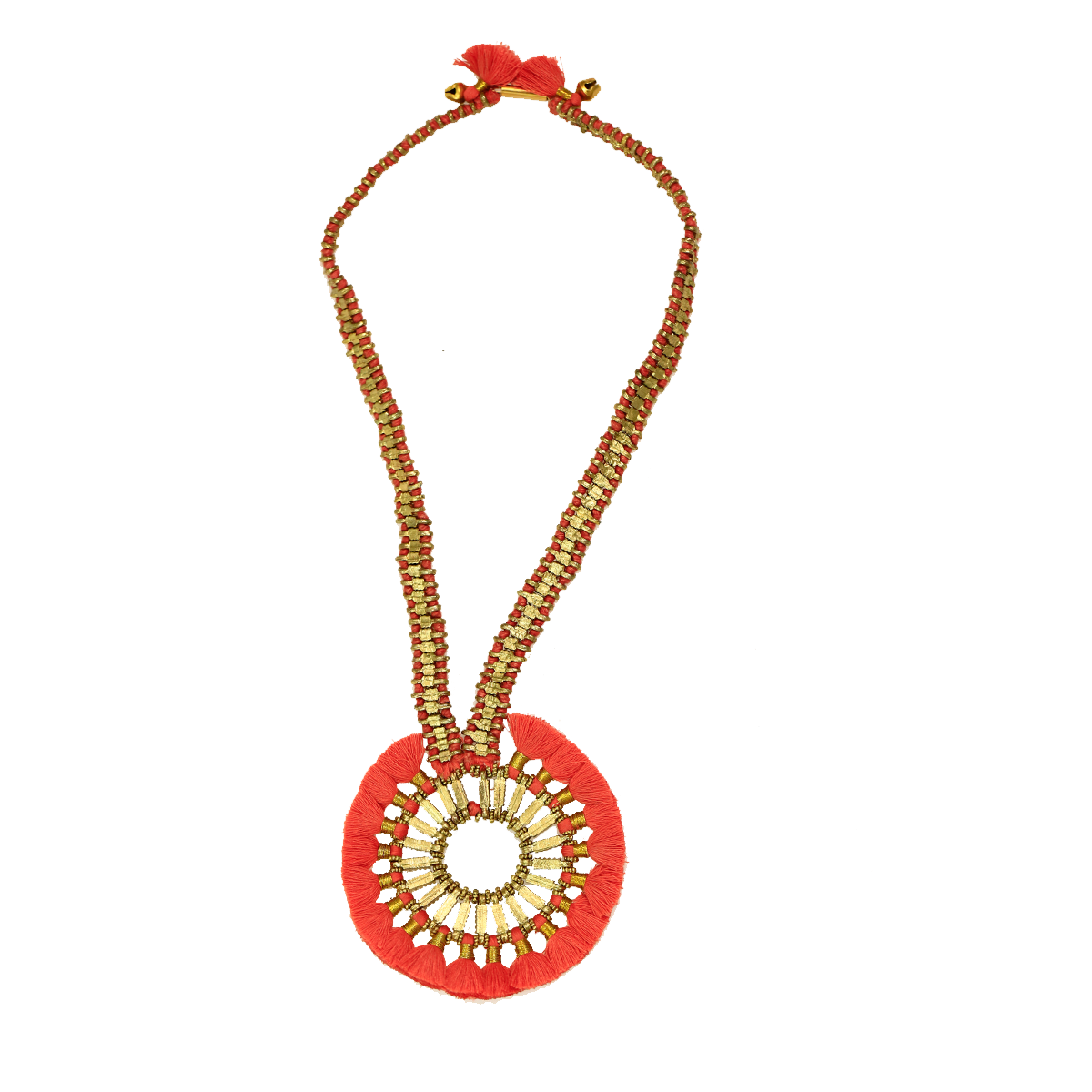 Bohemian Metal Tassel Necklace - Red