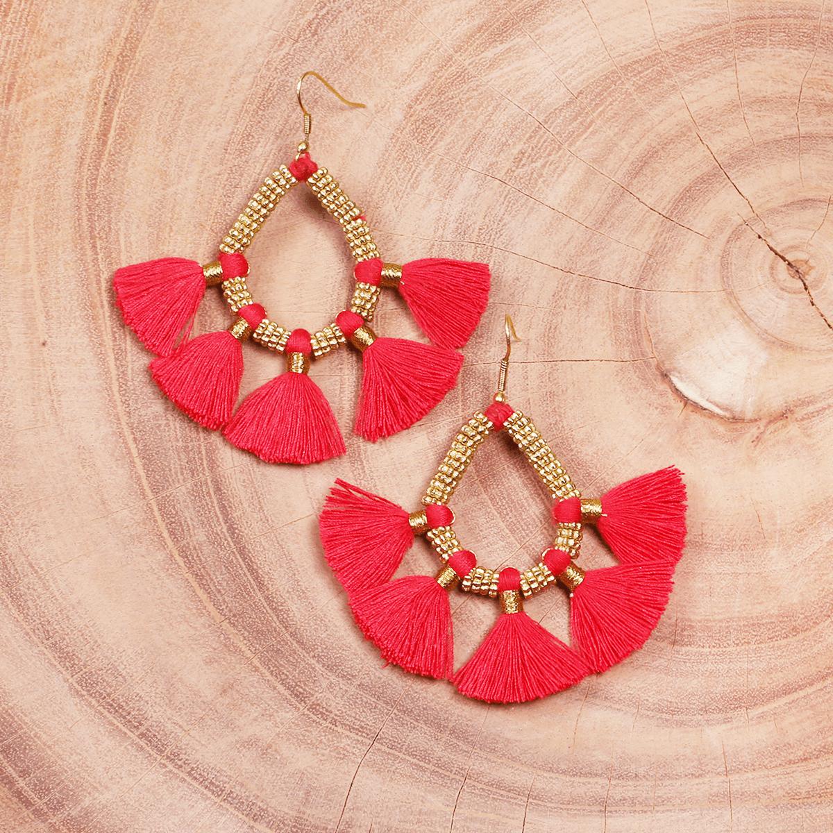 Red tassel metal earring