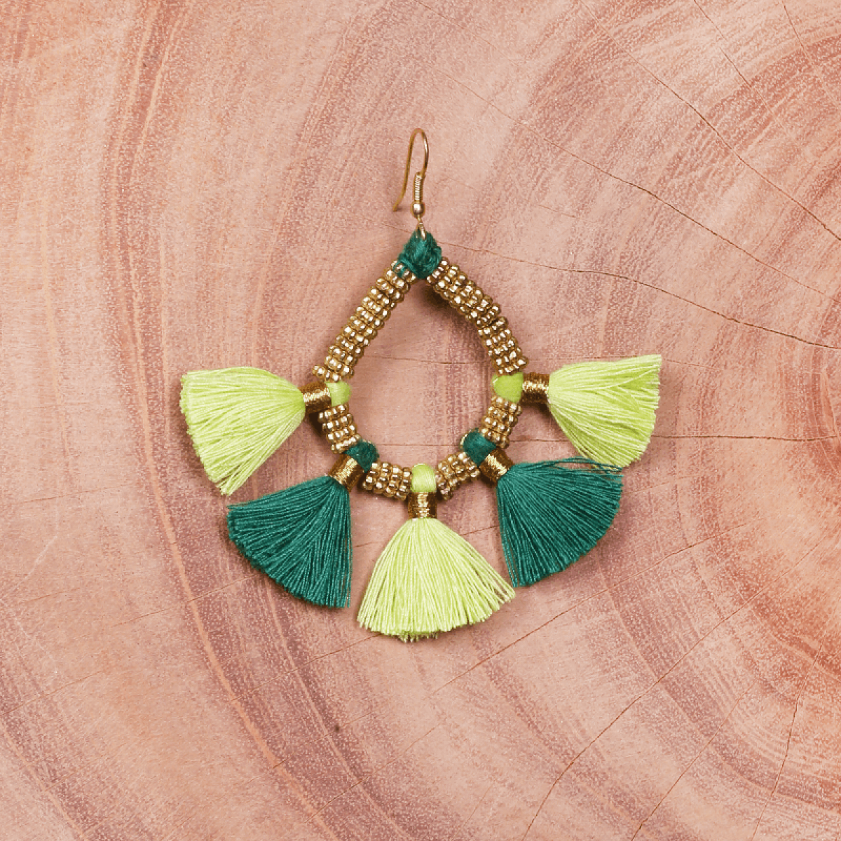 Green tassel metal earring