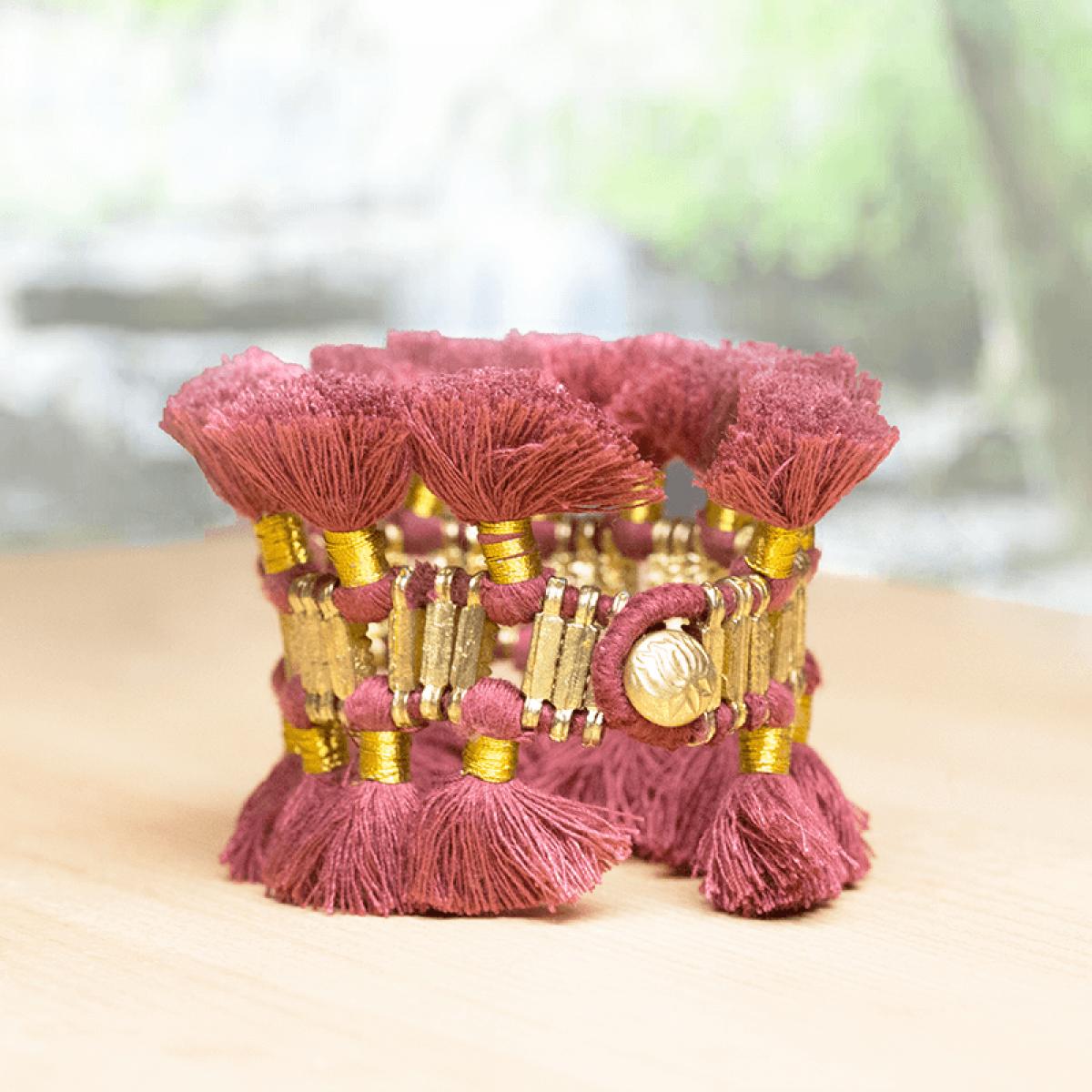 Bohemian Fashion Double Tassel Bracelet - Maroon