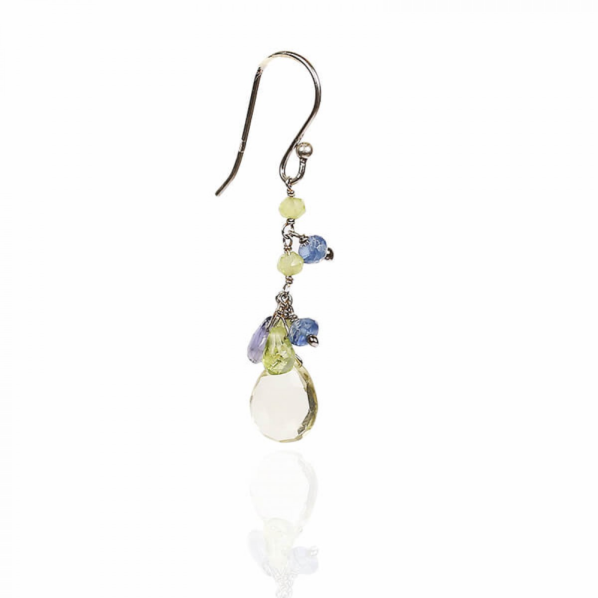 Gemstone Crystal Earrings - Peridot & Kyanite