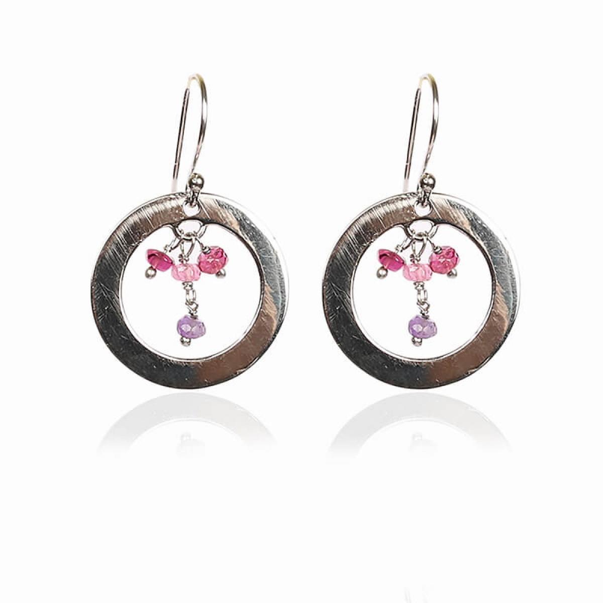 Gemstone Ruby Earrings - Silver