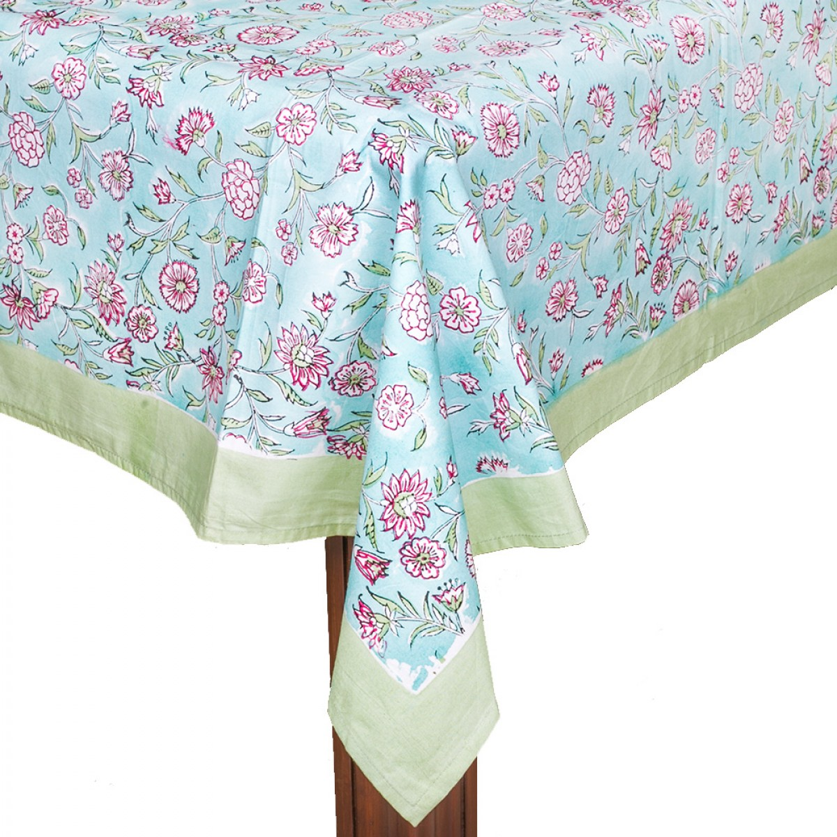 Block Printed Aqua Cotton Table Linen (235cm x 146cm)
