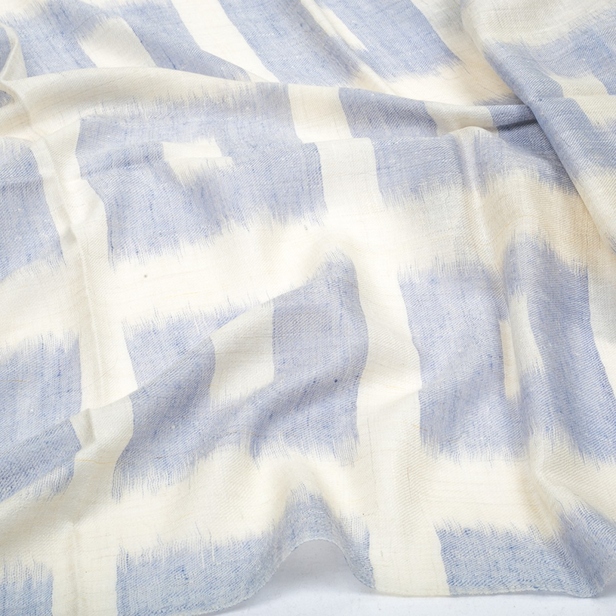 Ikat Cashmere Pashmina Stole - Light Blue & White