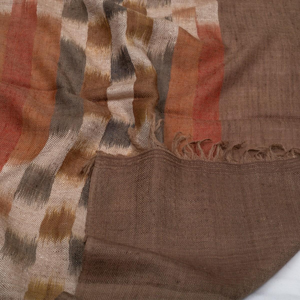 Ikat Cashmere Pashmina Stole - Brown Burgundy