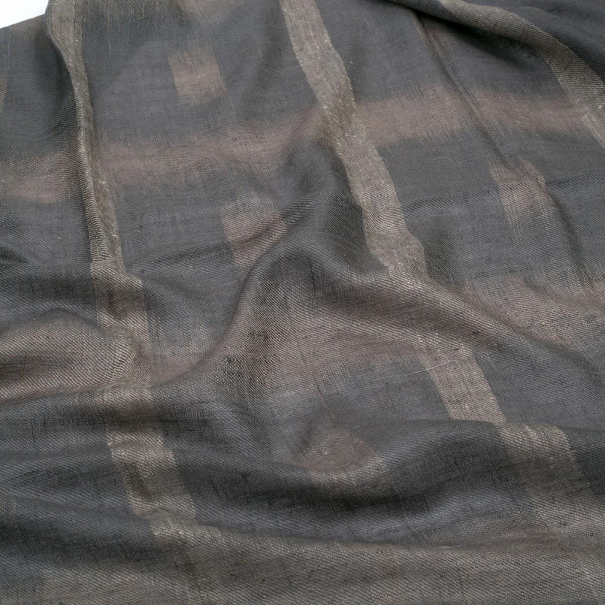 Ikat Cashmere Pashmina Stole - Dark Grey
