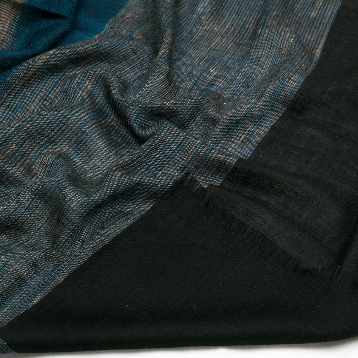 Ikat Cashmere Pashmina Stole - Dark Blue & Black