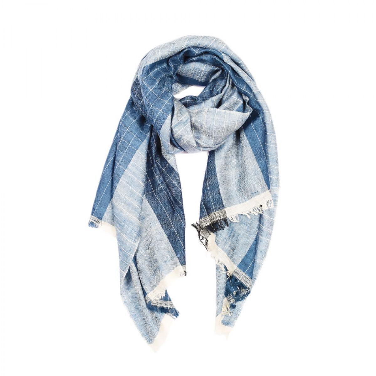 Ikat Pashmina Scarf - Blue