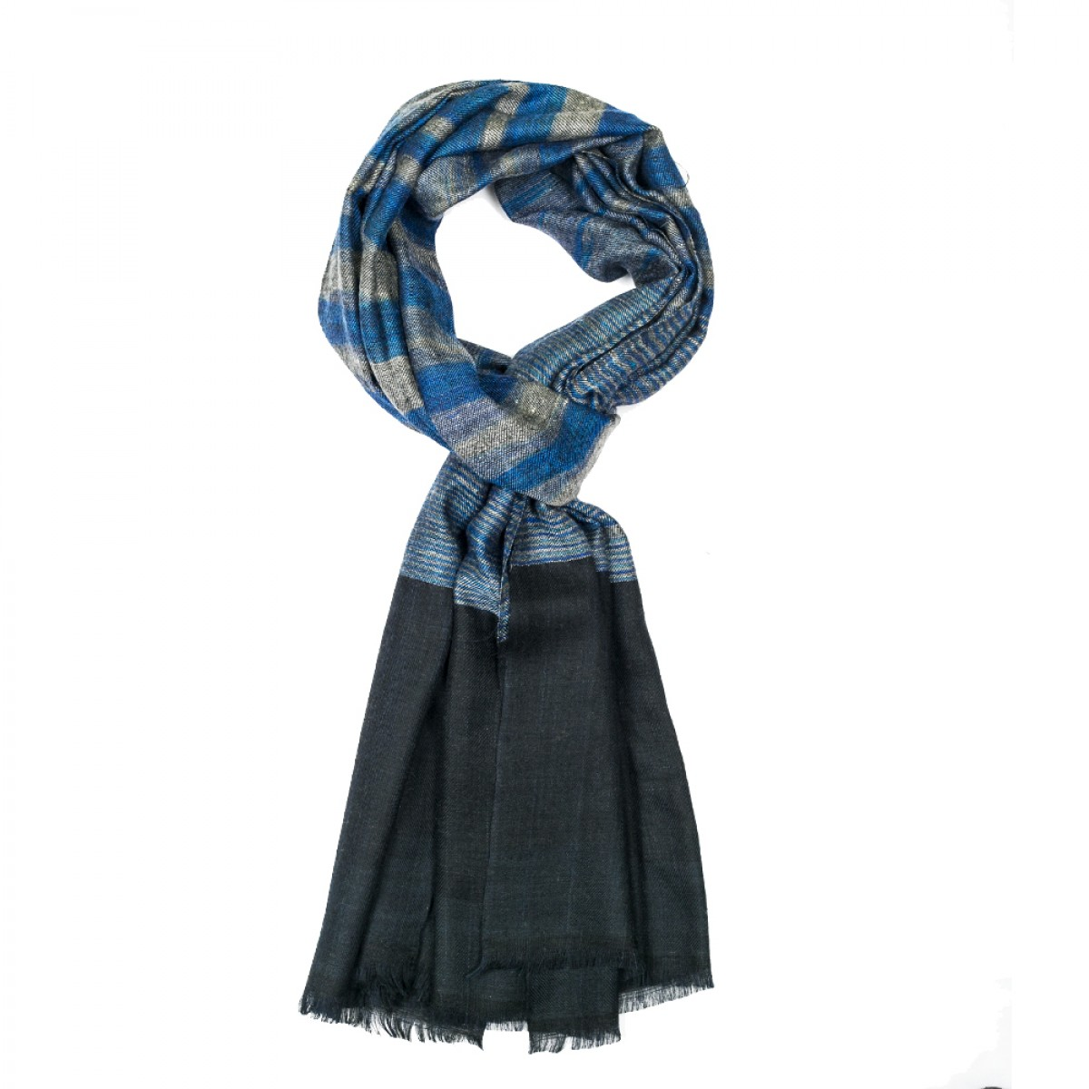 Unisex Ikat Cashmere Pashmina Scarf - Black and blue