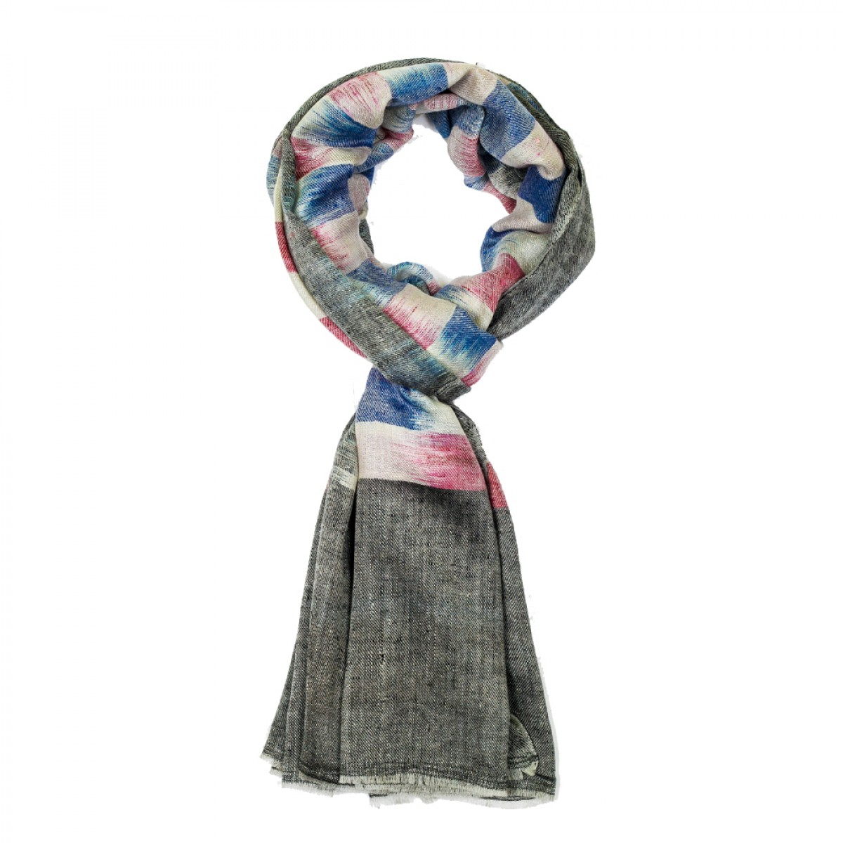 Unisex Ikat Cashmere Pashmina Scarf - Grey and blue