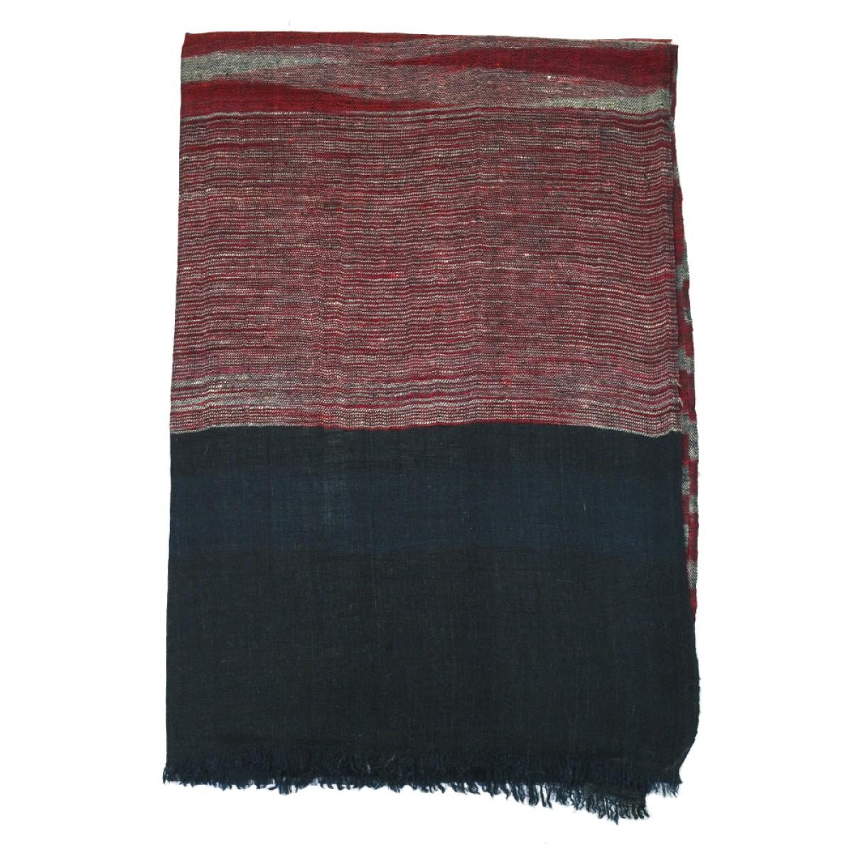 Unisex Ikat Cashmere Pashmina Scarf - Black and burgundy