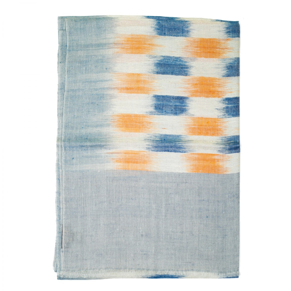 Unisex Ikat Cashmere Pashmina Scarf - Light Grey and Yellow