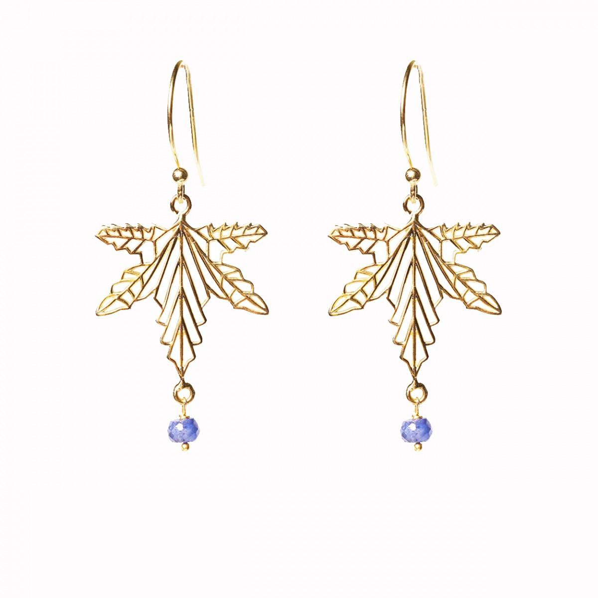 Gemstone Leaf Pendant Earrings - Sapphire