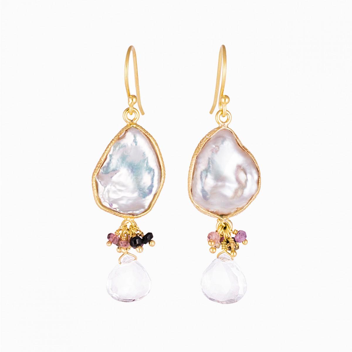 Gemstone Deepika Earrings - Pearl & Tourmaline