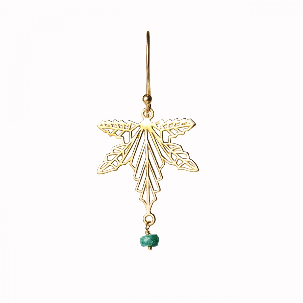 Gemstone Leaf Pendant Earring - Emerald