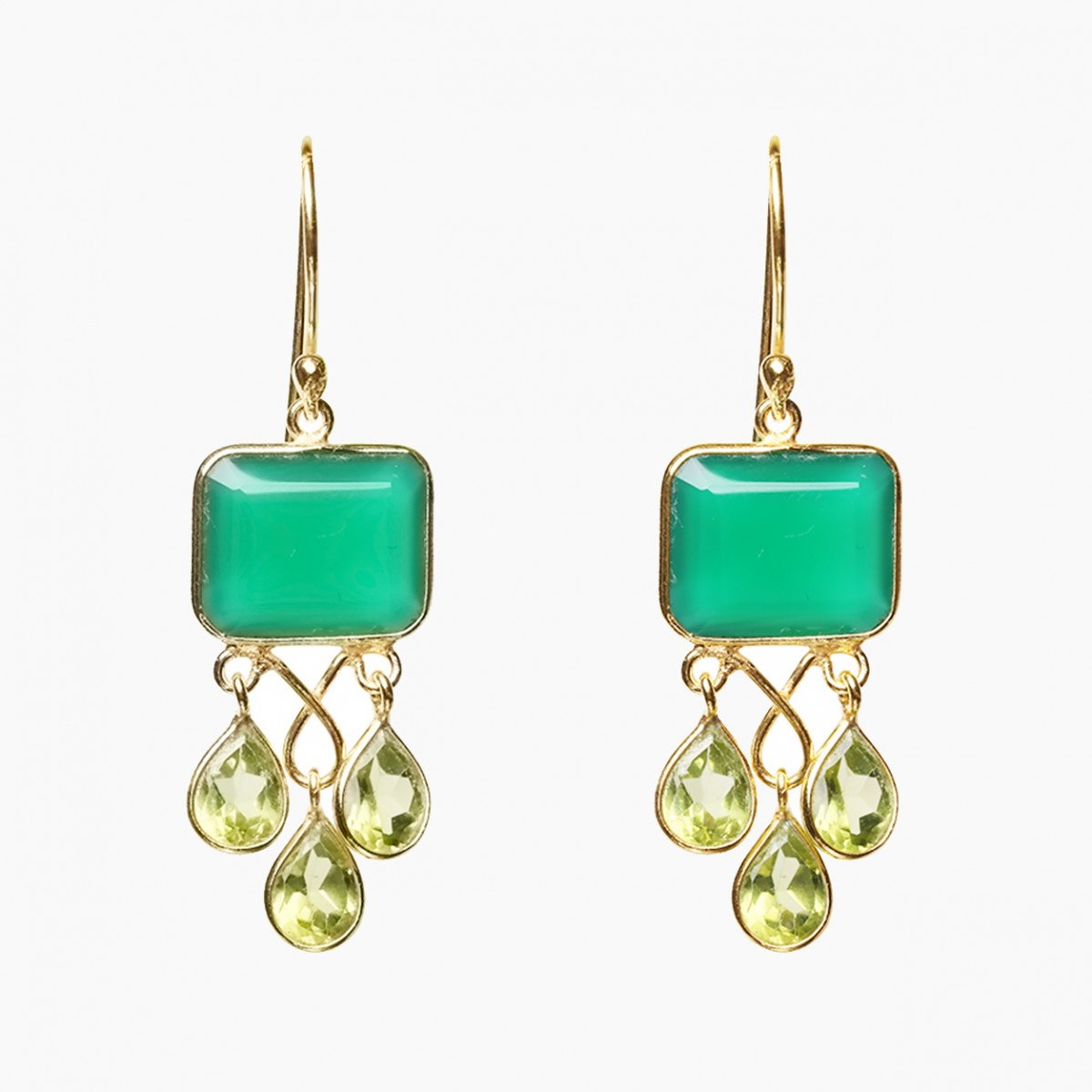 Gemstone Earrings - Green Onyx and Peridot